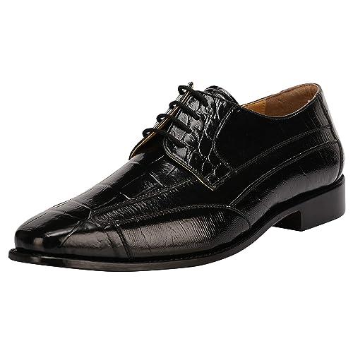 7b6c46220468 Liberty Men's Croco EEL Lizard Print Dress Shoes PU Leather   Lace Up