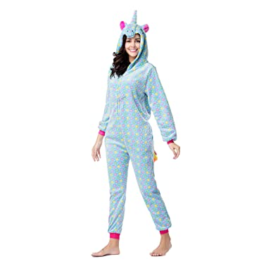 RONGTAI Adults Unisex Animal Flannel Unicorn Onesie Pajamas Cosplay  Costume(S,Blue Star Unicorn 6816a53f9