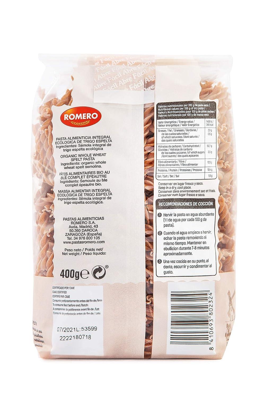 Romero, Espirales Espelta Bio Integral- 10 de 400 gr. (Total 4000 gr.): Amazon.es: Alimentación y bebidas
