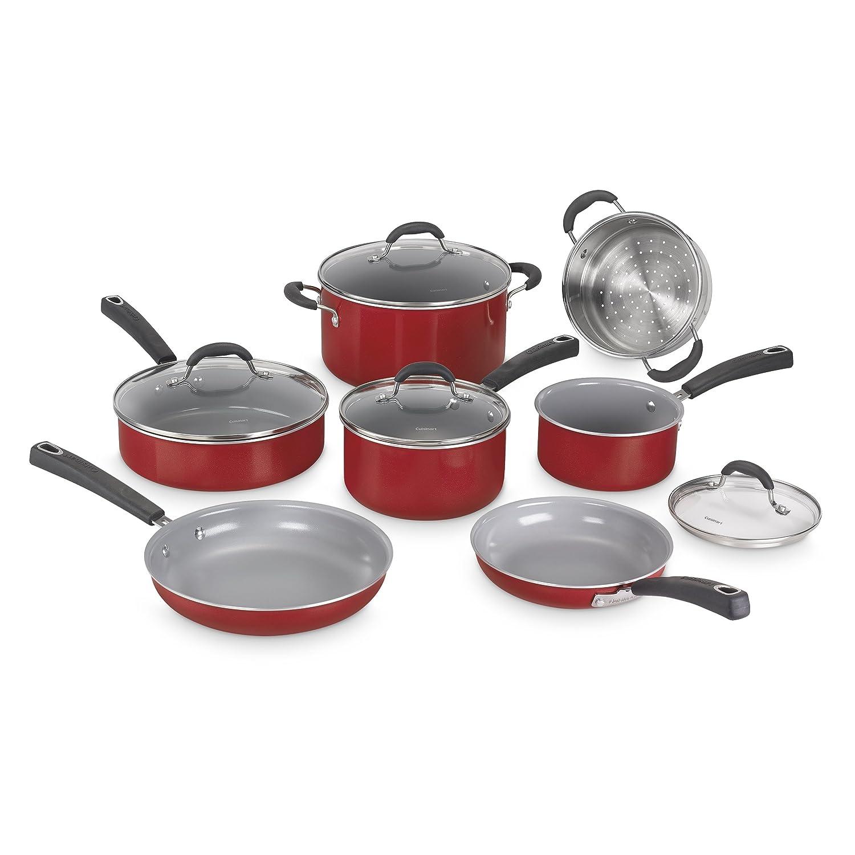 Cuisinart 54C-11R Advantage Ceramica XT Cookware Set Medium Red