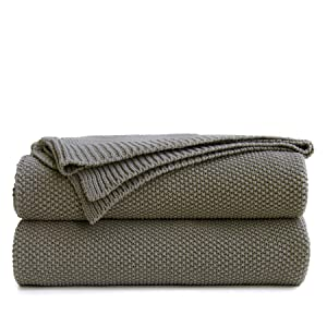 Oversize Medium Grey Cotton Cable Knit Throw Blanket for Couch, Home Decorative Throws, Large Woven Throw Blankets with Bonus Laundering Bag, Gray 3.4 Pounds 60 x 80 Inch