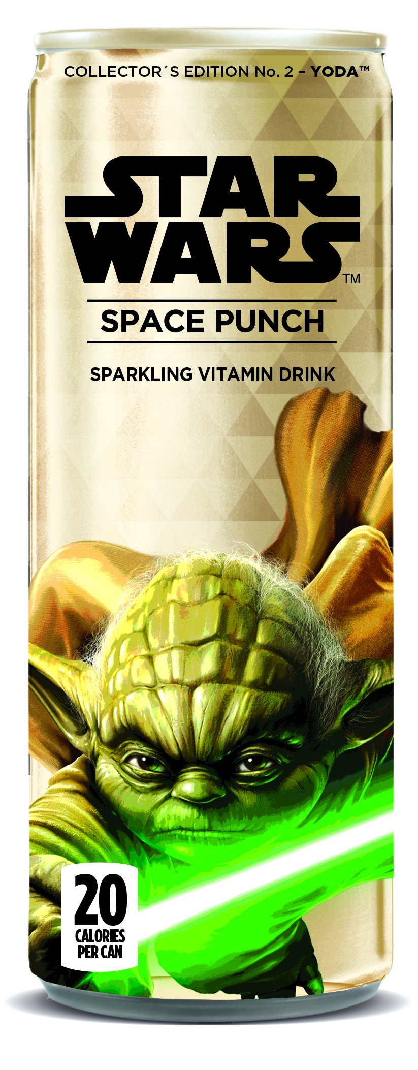 Star Wars Space Punch Sparkling Vitamin Drink, Collectors Edition No.2- Yoda, 12 Oz. Cans (Pack of 12)
