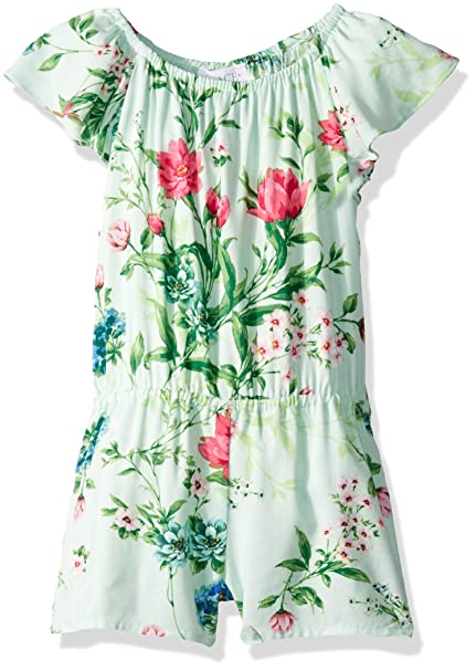 The Childrens Place Big Girls Floral Printed Romper