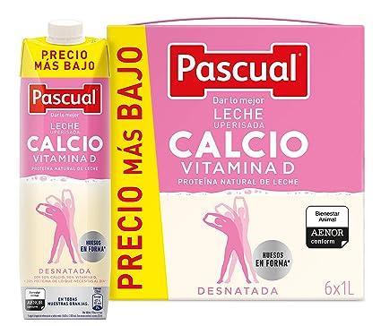 Leche Pascual - Calcio Leche Desnatada, Calcio natural - 1 L (Paquete de 6