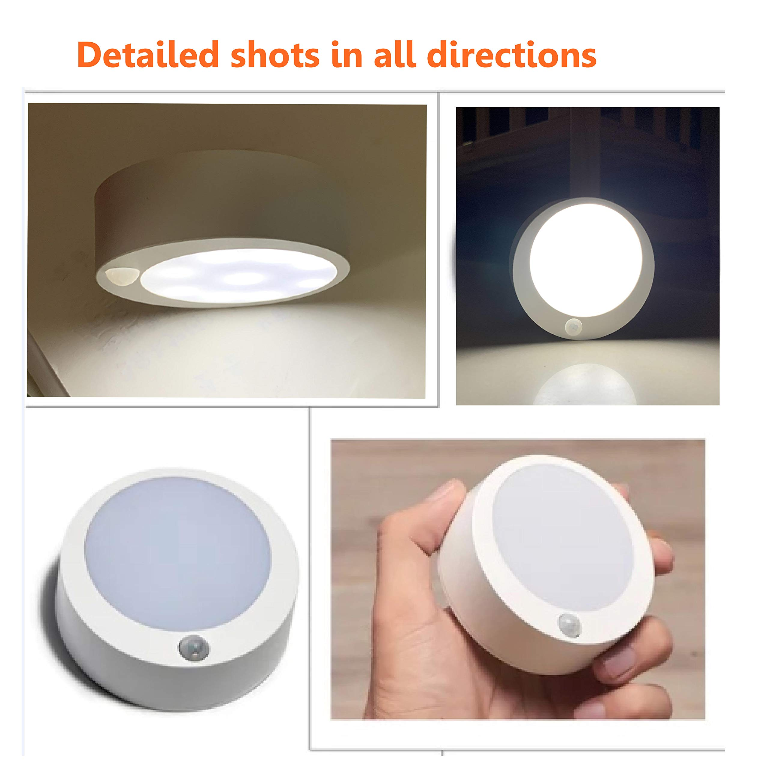 Motion Sensor Night Light Topopto Natural White Indoor Battery Operated Stick on Anywhere for Patio Lighting,Porch,Stairs