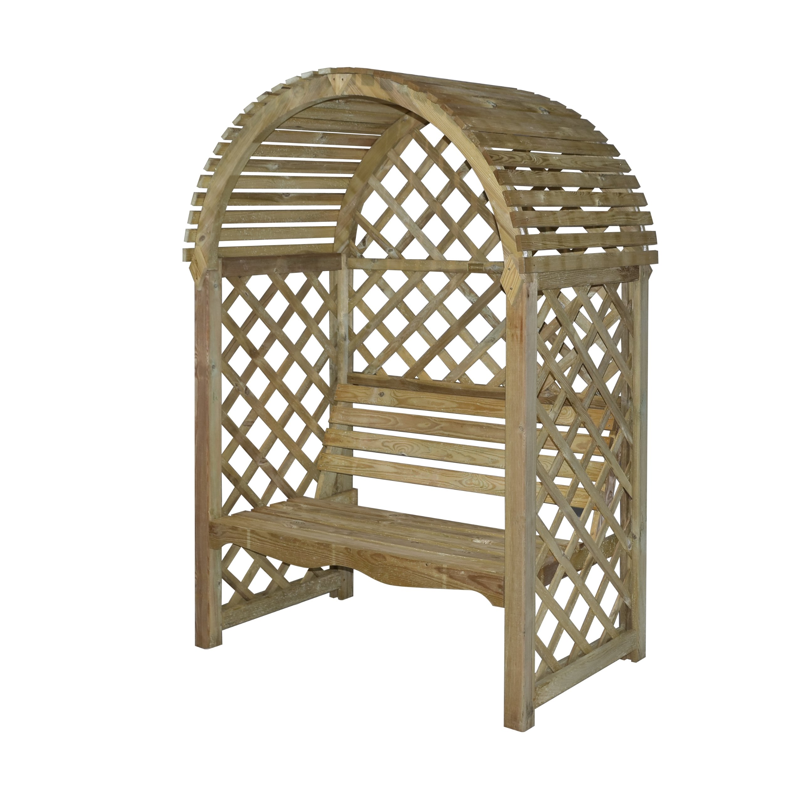 Bosmere PERVIC Rowlinson Victoria Arbor with Seat and Lattice Back/Sides, Natural Finish