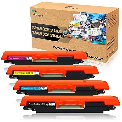 7Magic Cartuchos de toner compatibles para HP 126A(CE310A) 130A ...