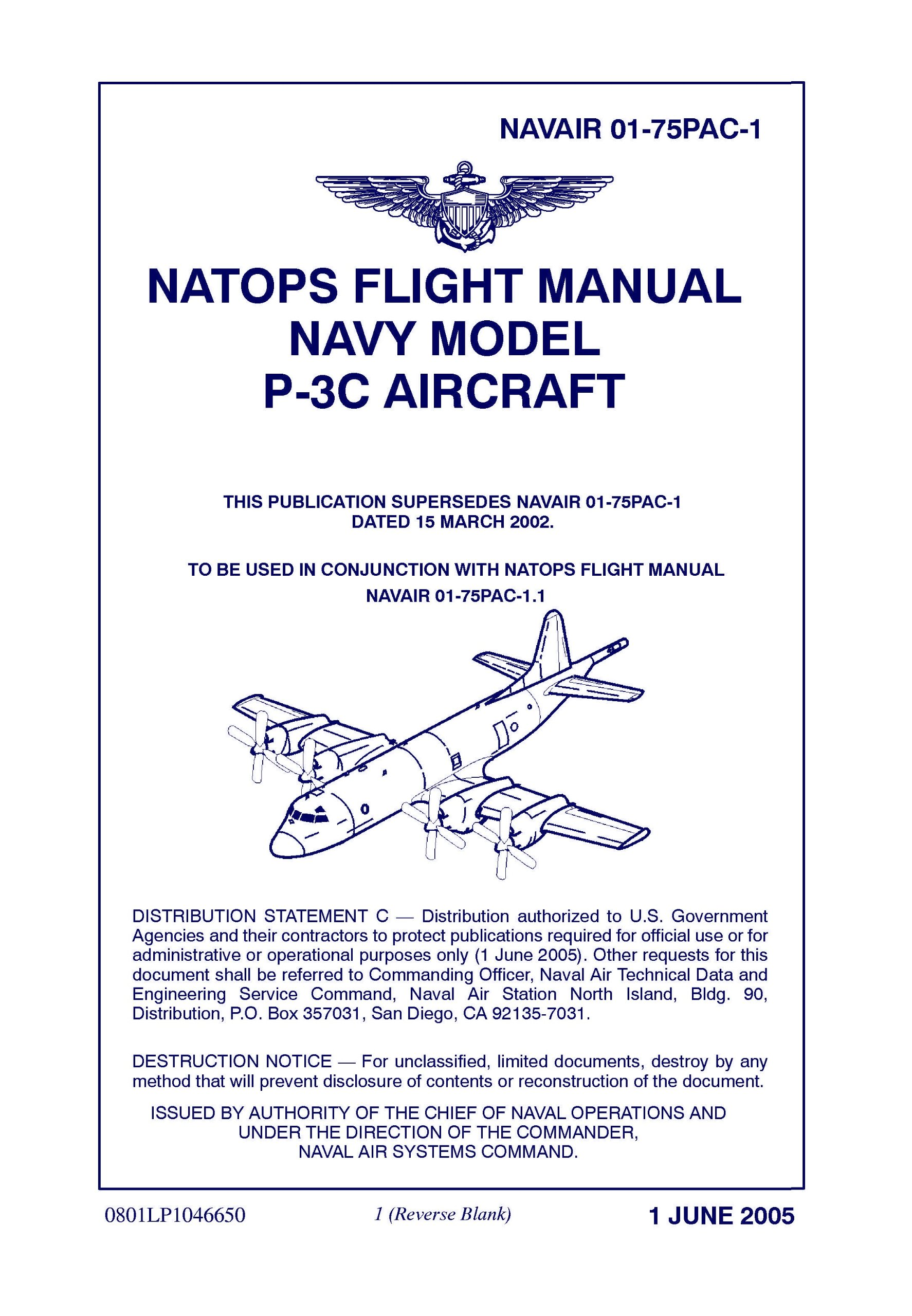 NATOPS P-3C Aircraft Flight Manual 01-75pac-1 [loose Leaf Edition]:  Department of the Navy, Naval Air Systems Command: Amazon.com: Books