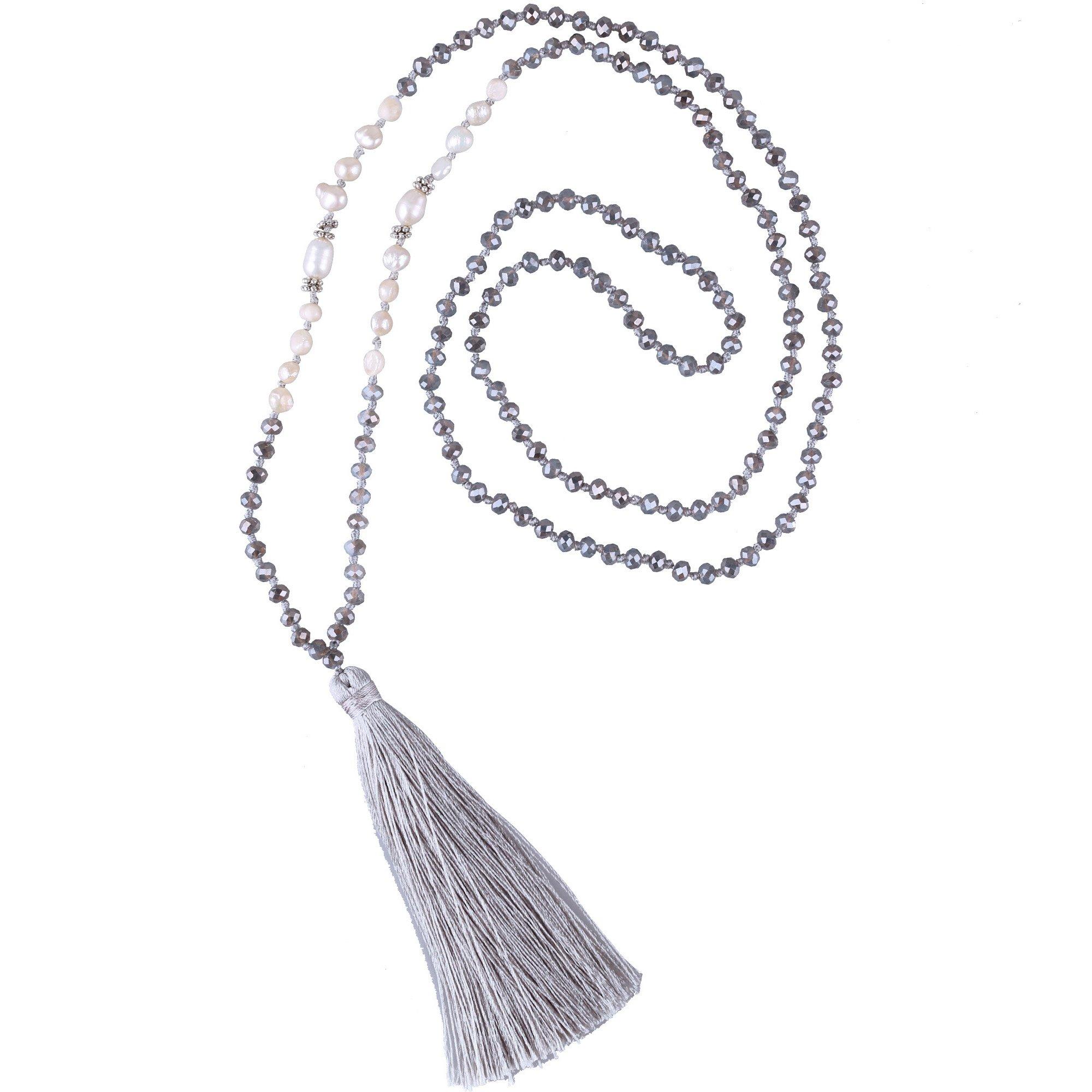C·QUAN CHI Handmade Crystal Beaded Necklace Women Girls Tassel Pendant Necklace Statement Strand Necklace Gifts Jewelry for Women Gifts for Girls
