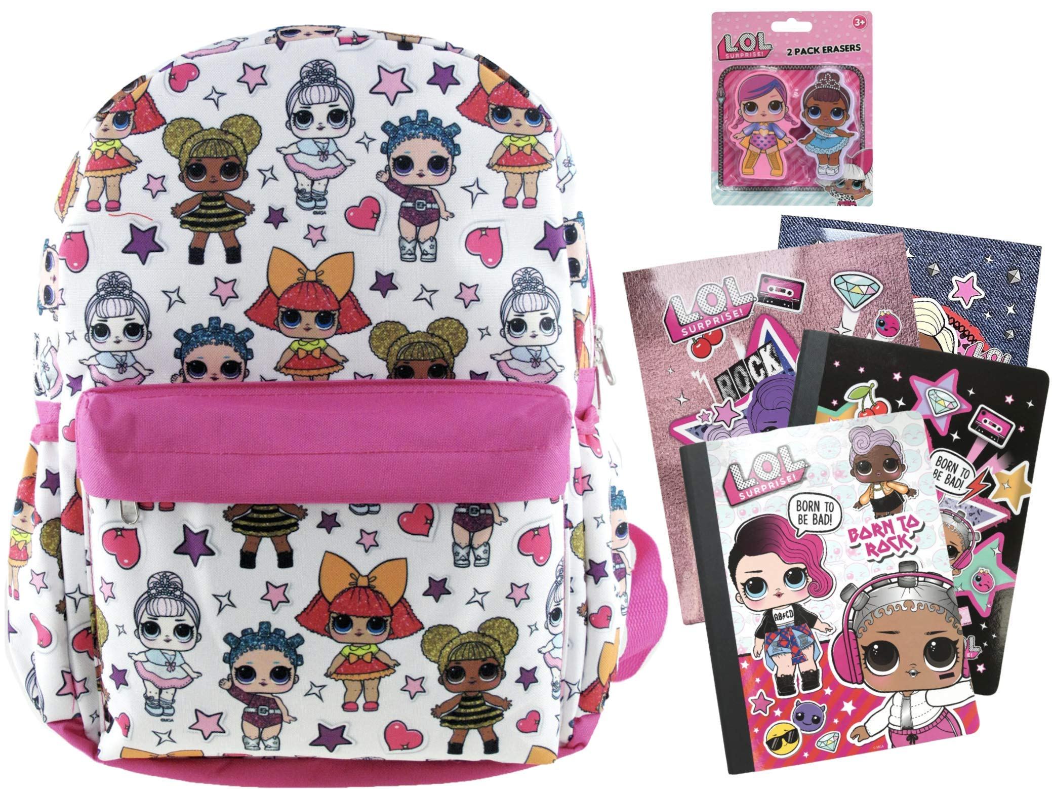 L.O.L. Surprise! 16'' Backpack Plus 2 Folders, 2 Composition Notebooks and 2 Pack of Jumbo Erasers