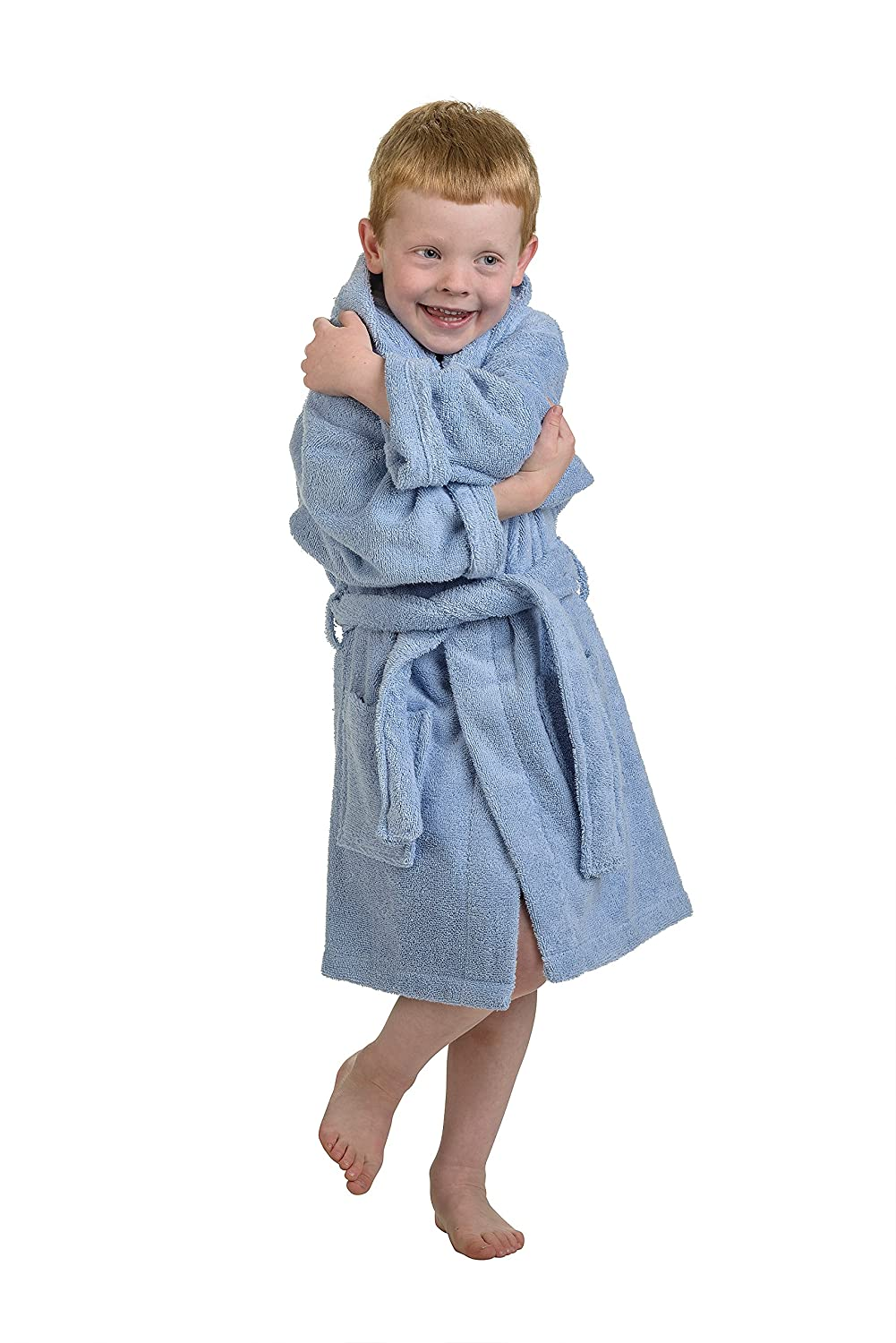 Superior Collection 100% Premium Long-Staple Combed Cotton Hooded Terry Bath Robe for Kids, Small/Medium, White ROBE KID WHITE S/M