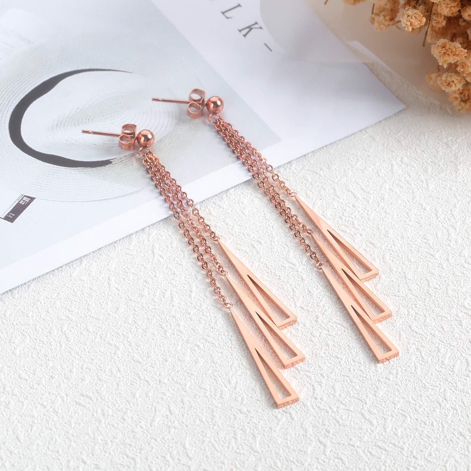 Mishow Elegant Geometric Dangle Earrings for Women Girls Rose Gold Plated Stainless Steel Fashion Jewelry