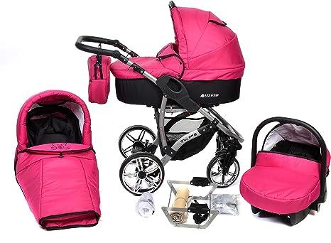 Opinión sobre Allivio - Sistema de viaje 3 en 1, silla de paseo, carrito con capazo y silla de coche, RUEDAS GIRATORIAS y accesorios (Sistema de viaje 3 en 1, fucsia)