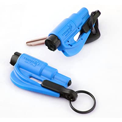 resqme The Original Keychain Car Escape Tool, Made in USA (Blue) - Pack of 2: Automotive