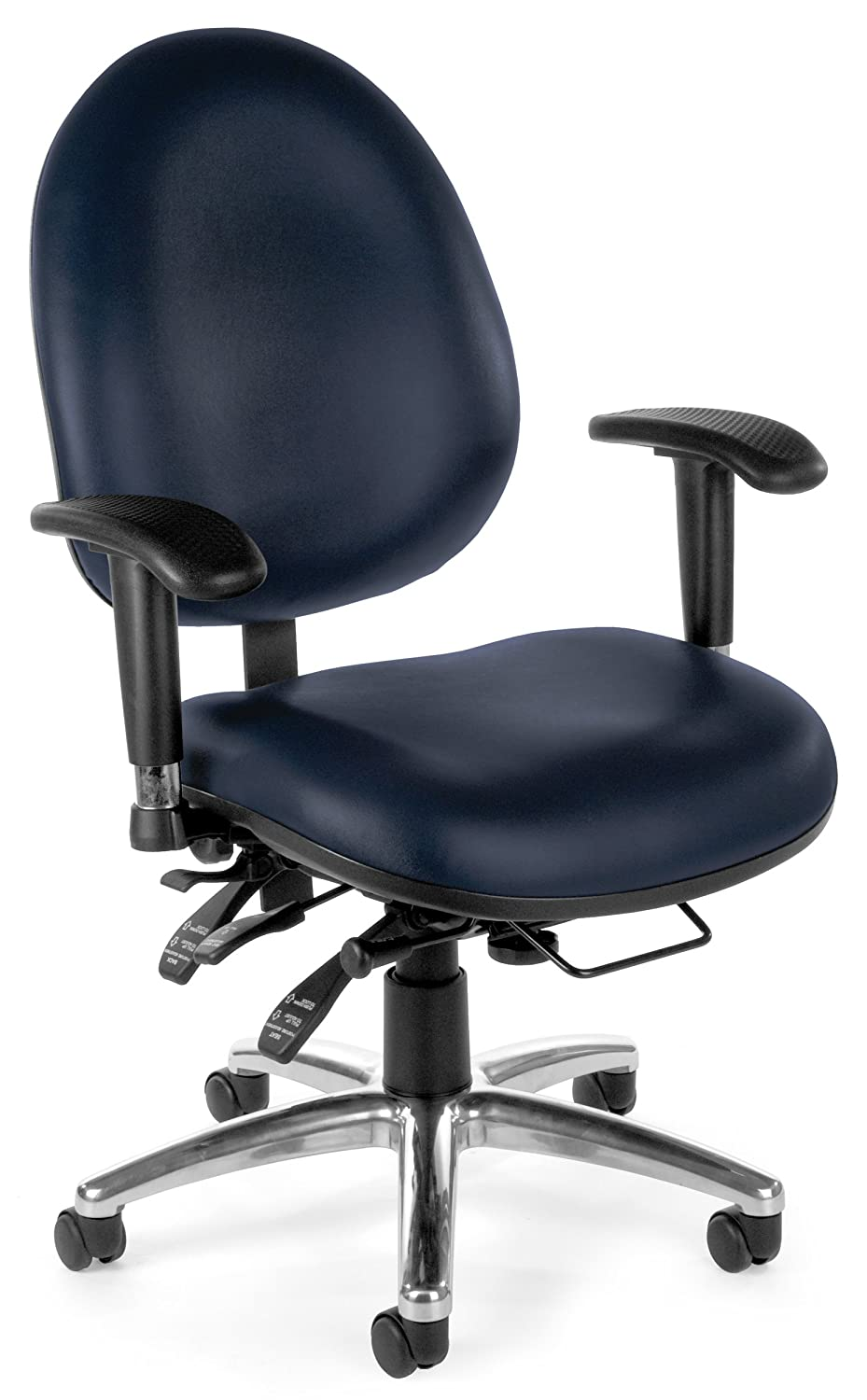 Office Chair With Adjustable Arms Amazoncom Ofm 24 7 Vinyl Chair Black Kitchen Dining