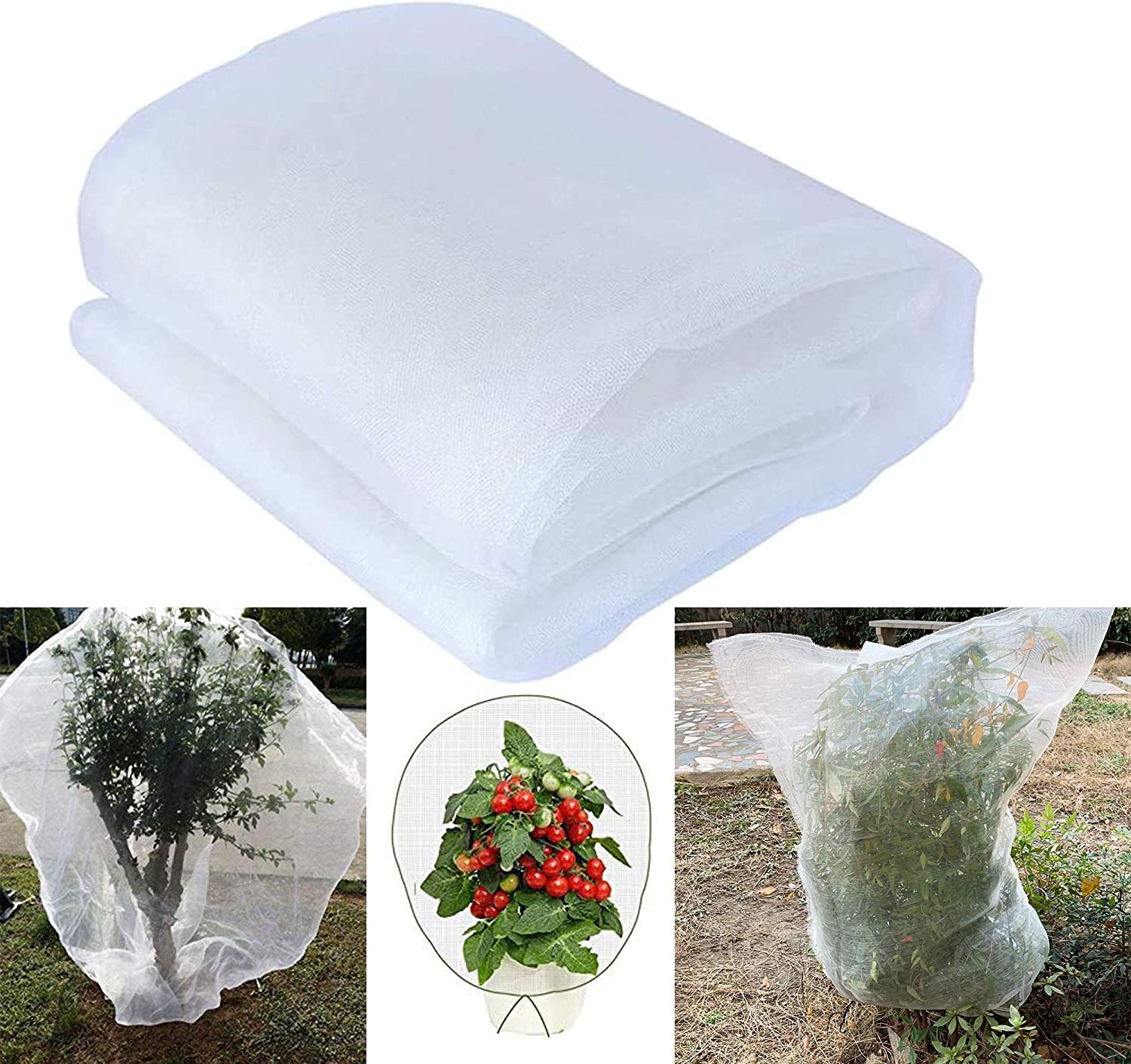 4 Pack Insect Bird Barrier Net Mesh with Drawstring, 3.5Ftx2.3Ft Tomato Protective Cover Garden Plant Barrier Bag for Vegetables Fruits Flower from Insect Bird Eating