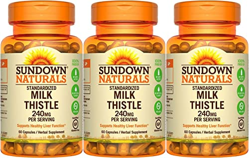 Sundown Naturals Standardized Milk Thistle 240 mg, 180 Capsules 3 X 60 Count Bottles