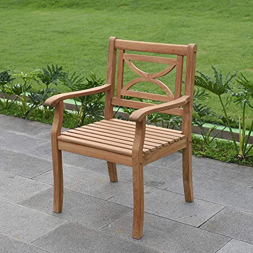 Cambridge Casual Solid Teak Wood Outdoor Dining Chair, Natural