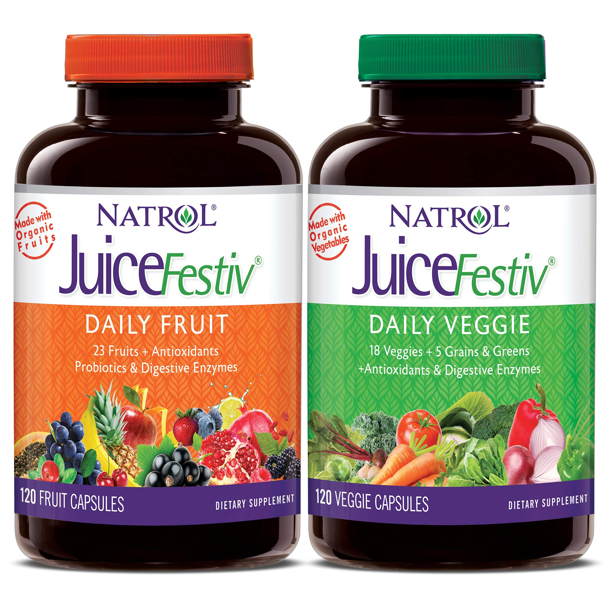 Natrol JuiceFestiv Daily Fruit & Veggie Capsules with Probiotics and Digestive Enzymes, 240 Count