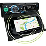 Jensen MPR419Q 7 Character LCD Single DIN Car Stereo Receiver Motorized Phone Mount with Qi Wireless Charging Push to Talk As