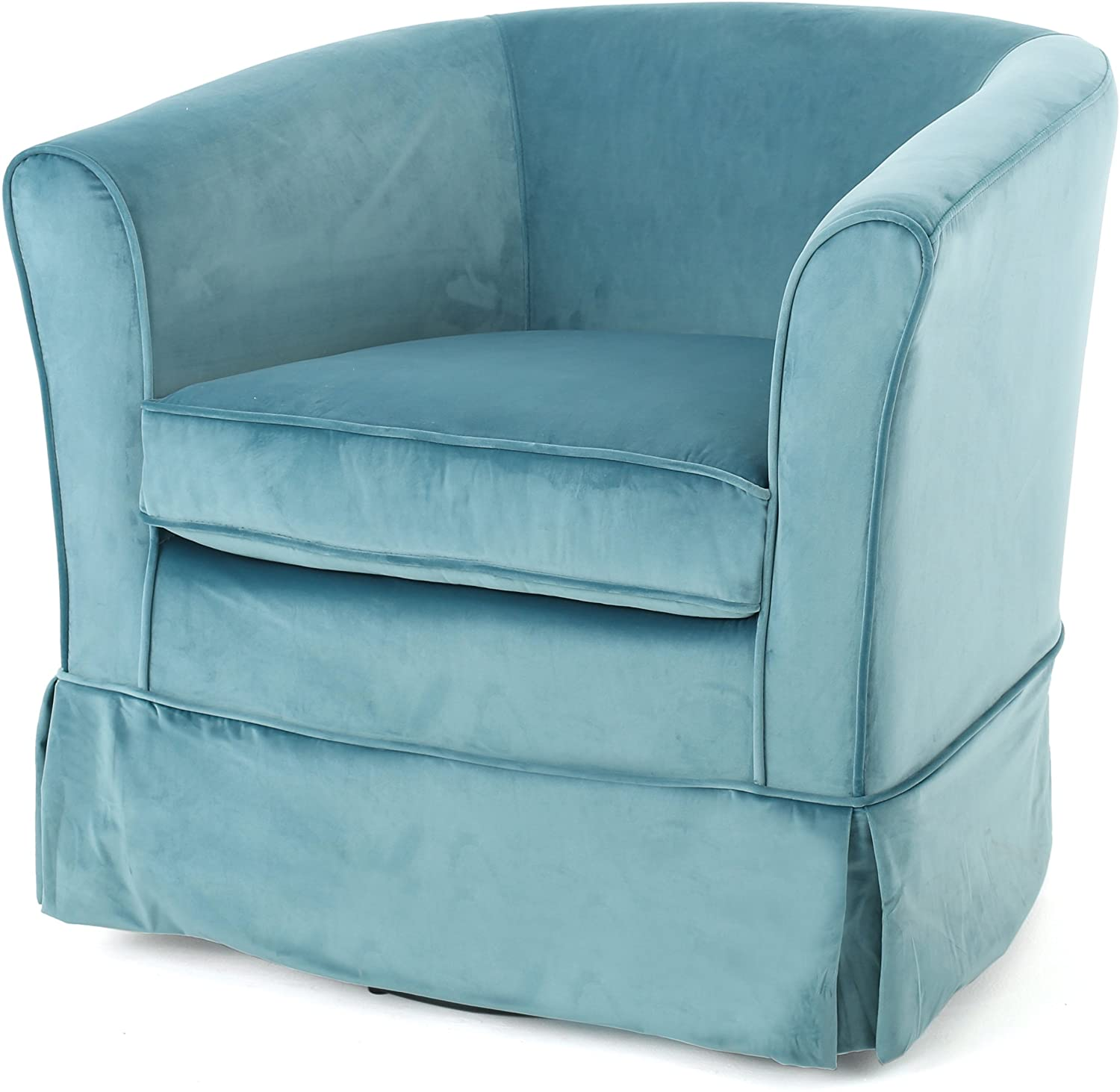 Christopher Knight Home Cecilia Swivel Chair with Loose Cover, Blue Velvet
