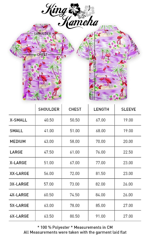 King Kameha Funky Camicia Hawaiana da Uomo XS Tasca Frontale Fenicottero Palme Maniche Corte Stampa Hawaiana 6XL
