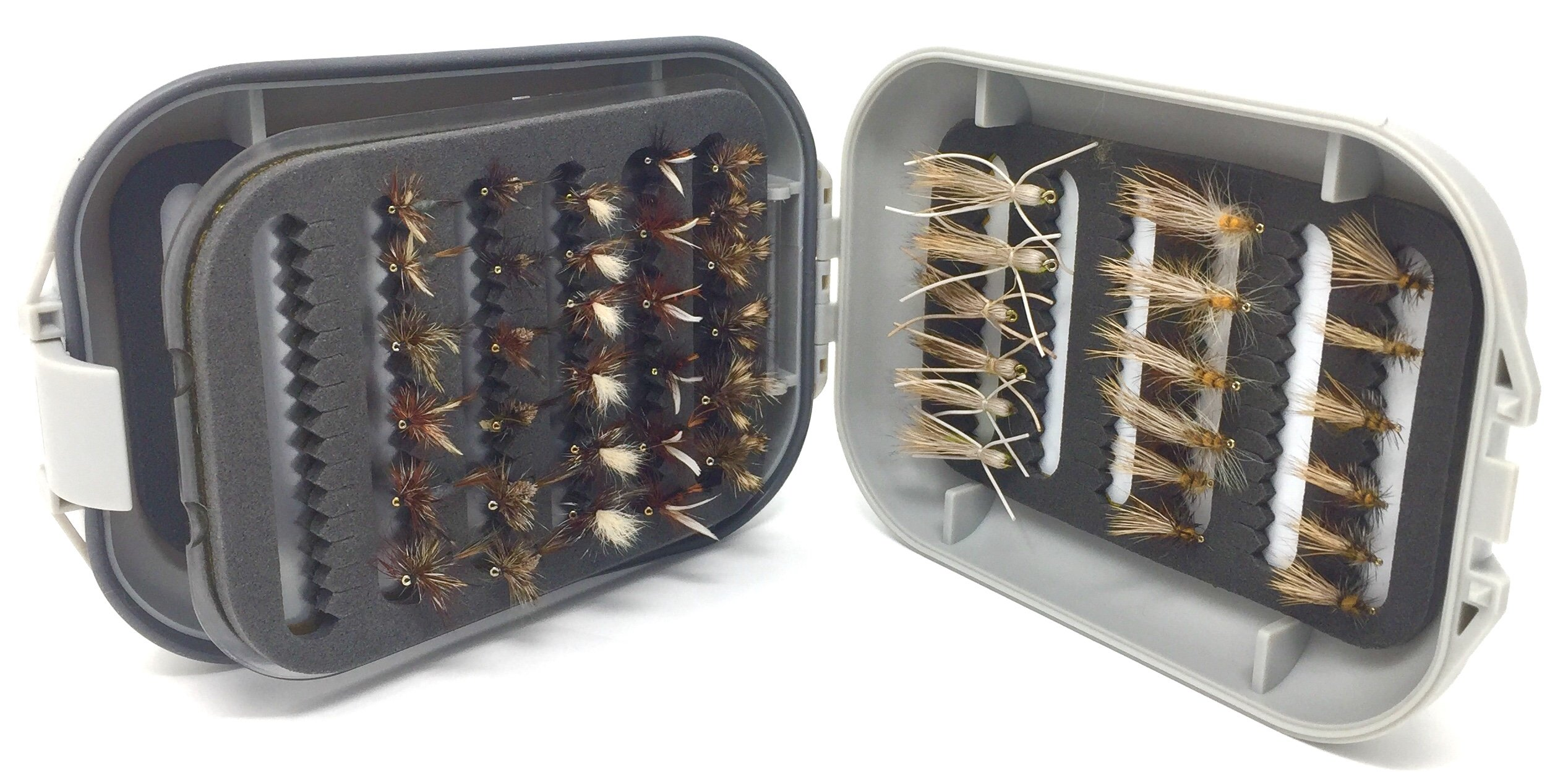 Fly Fishing Flies for Trout and Other Freshwater Fish - 48 Dry Flies and Waterproof Fly Box - 8 Patterns in 3 Sizes (2 of Each Size) Adams, Royal Coachman, Stimulator Yellow and Olive, Madam X, Humpy by Feeder Creek