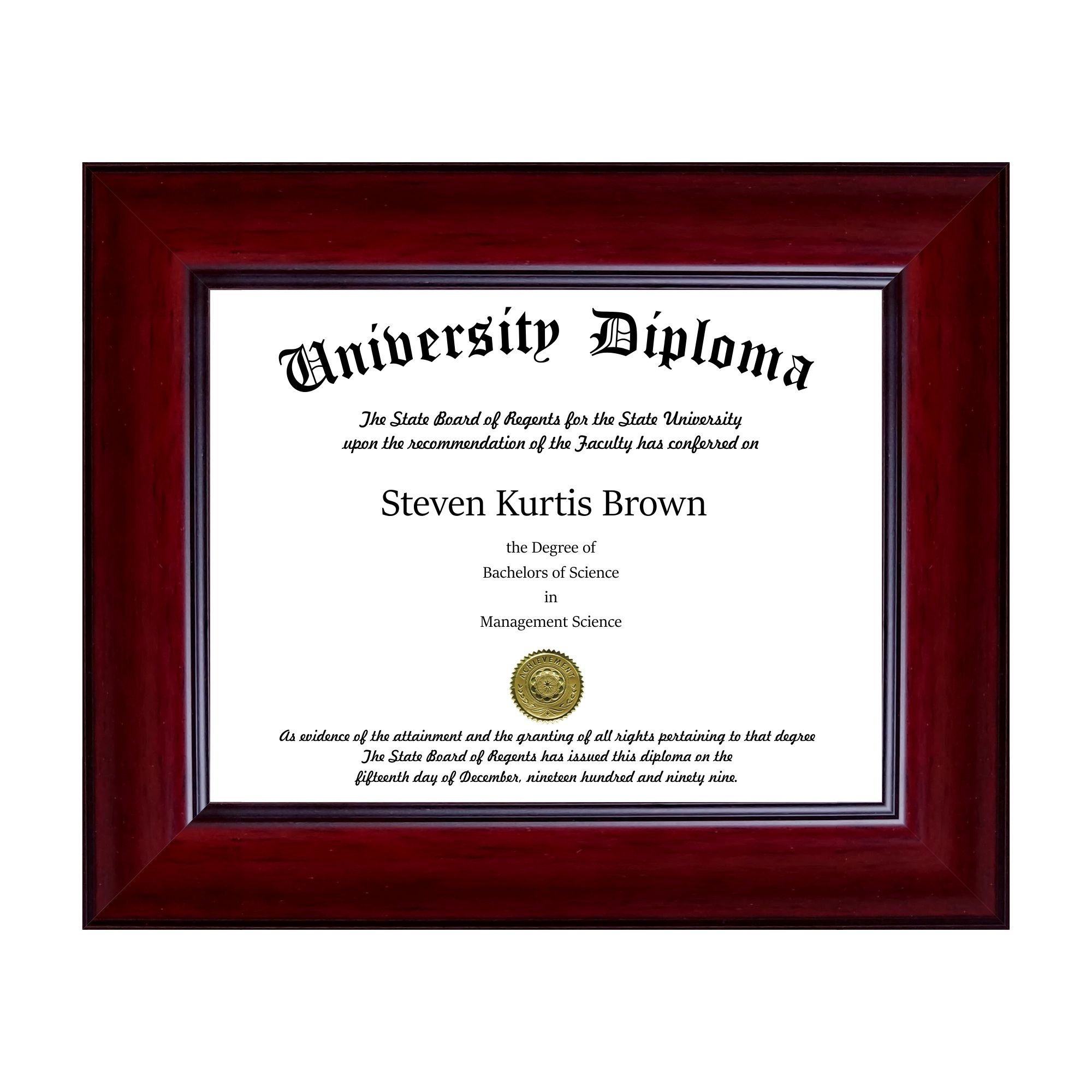 Perfect Cases Single Diploma/Document Frame for 9'' Wide x 7'' Tall Diploma
