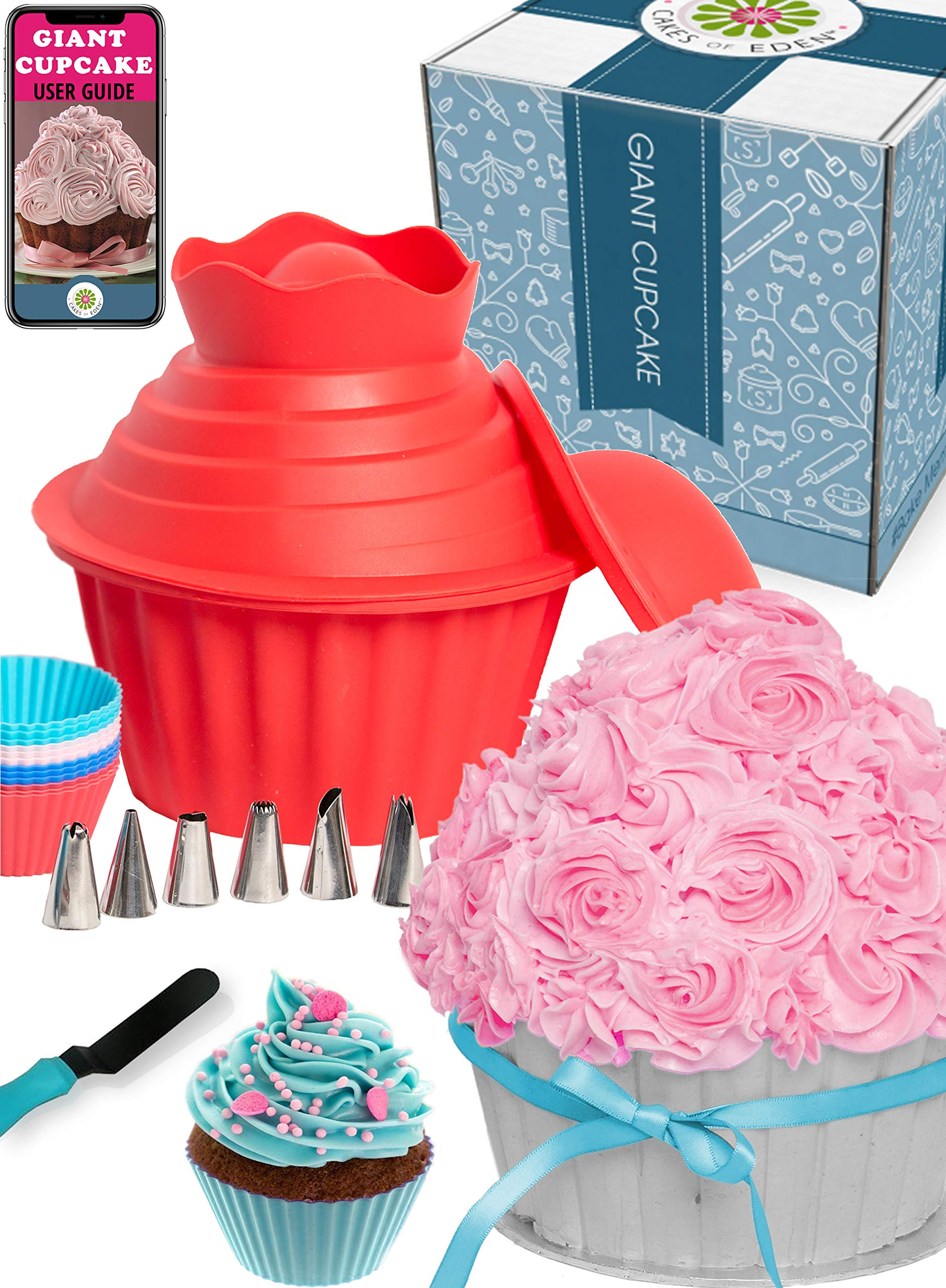 29pcs Giant Cupcake Pan Silicone Molds - Extra Huge Oversized Bakeware Cup Mold. Large Smash Cake Big Jumbo Muffin Baking Decorating Supplies Kit Accessories Frosting Icing Piping Bags Tips Cups by Cakes of Eden
