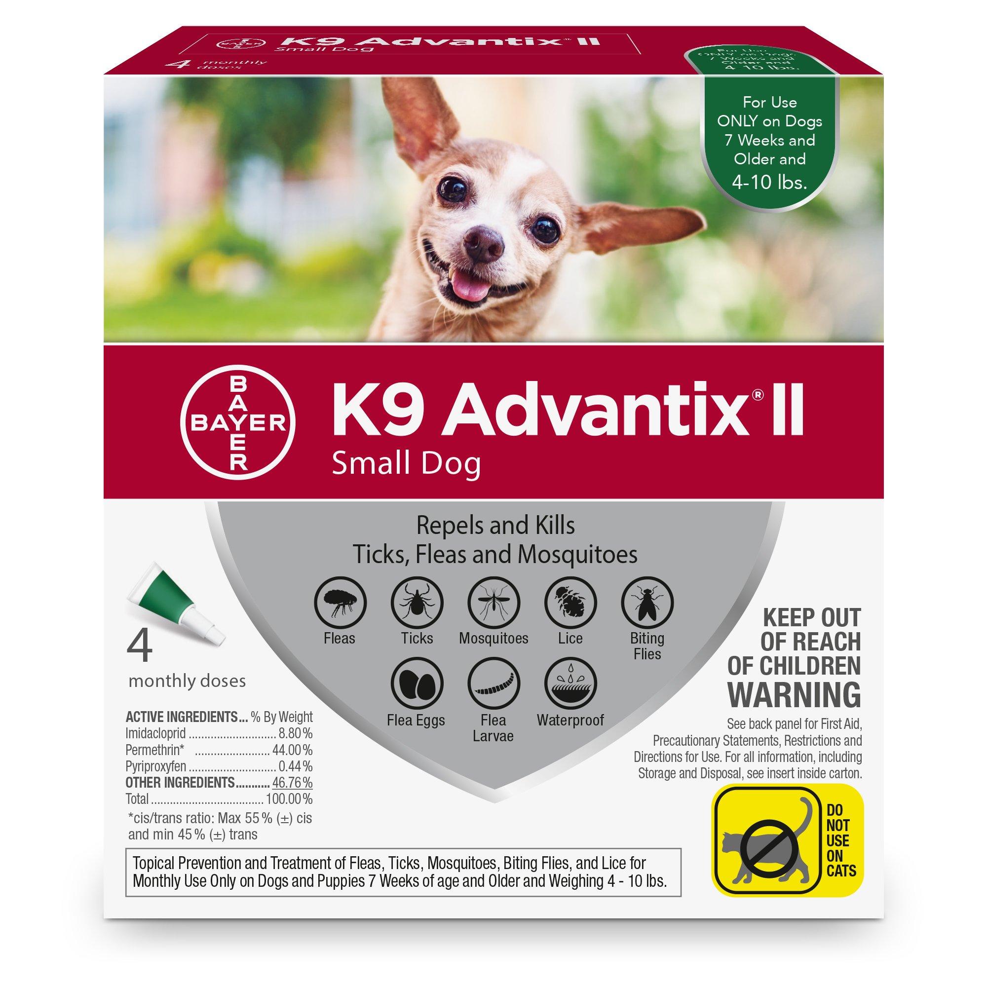 Bayer K9 Advantix II Flea, Tick and Mosquito Prevention for Small Dogs, 4 - 10 lb, 4 doses
