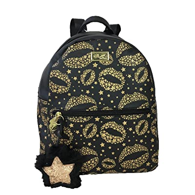 Luv Betsey Womens Dana PVC Backpack with Gold Glitter Lips