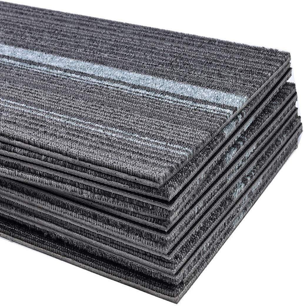 3m/² set strapazierf/ähiger B/üroteppich Bodenbelag Teppich mit hochwertigem Schlingenflor uyoyous 12er Teppichfliesen 100 x 25cm antistatisch mit Bitumen R/ücken