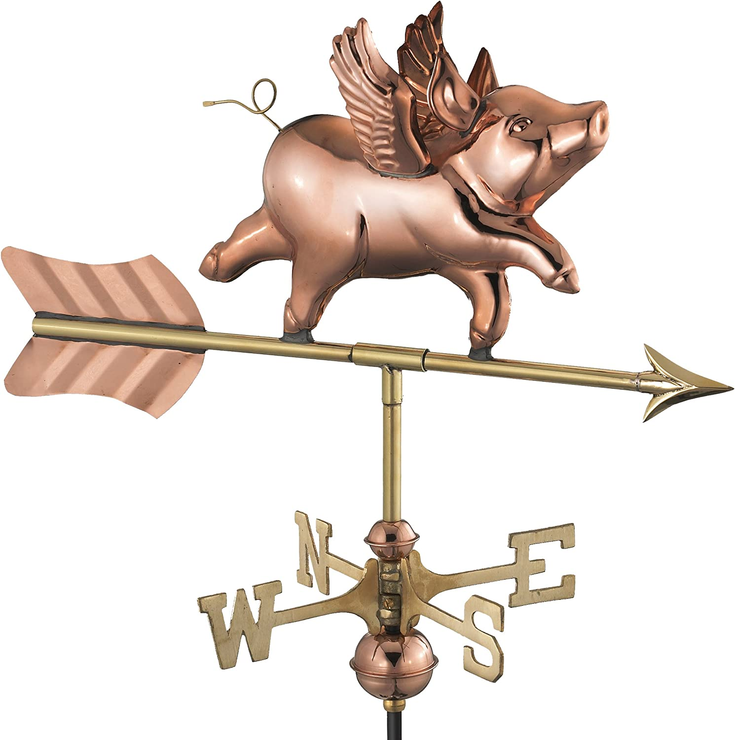 Good Directions 8840PG Flying Pig Garden Weathervane, Polished Copper with Garden Pole