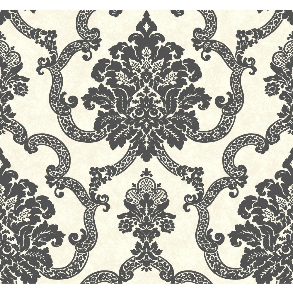 York Wallcoverings AB2187 Black and White Damask Stripe Wallpaper, White/Beige/Black