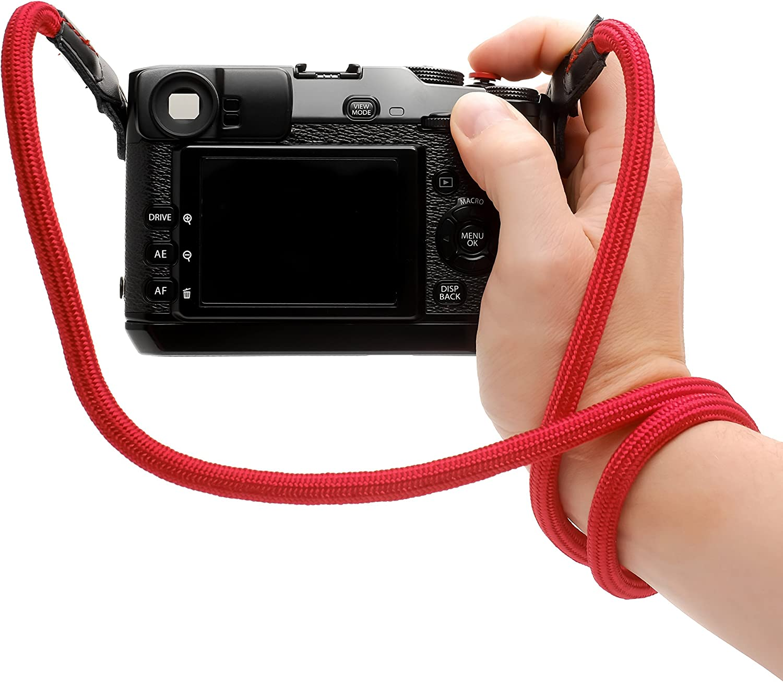 feingewobenem Nylon und Echtleder schwarz Runder Kameragurt aus weichem