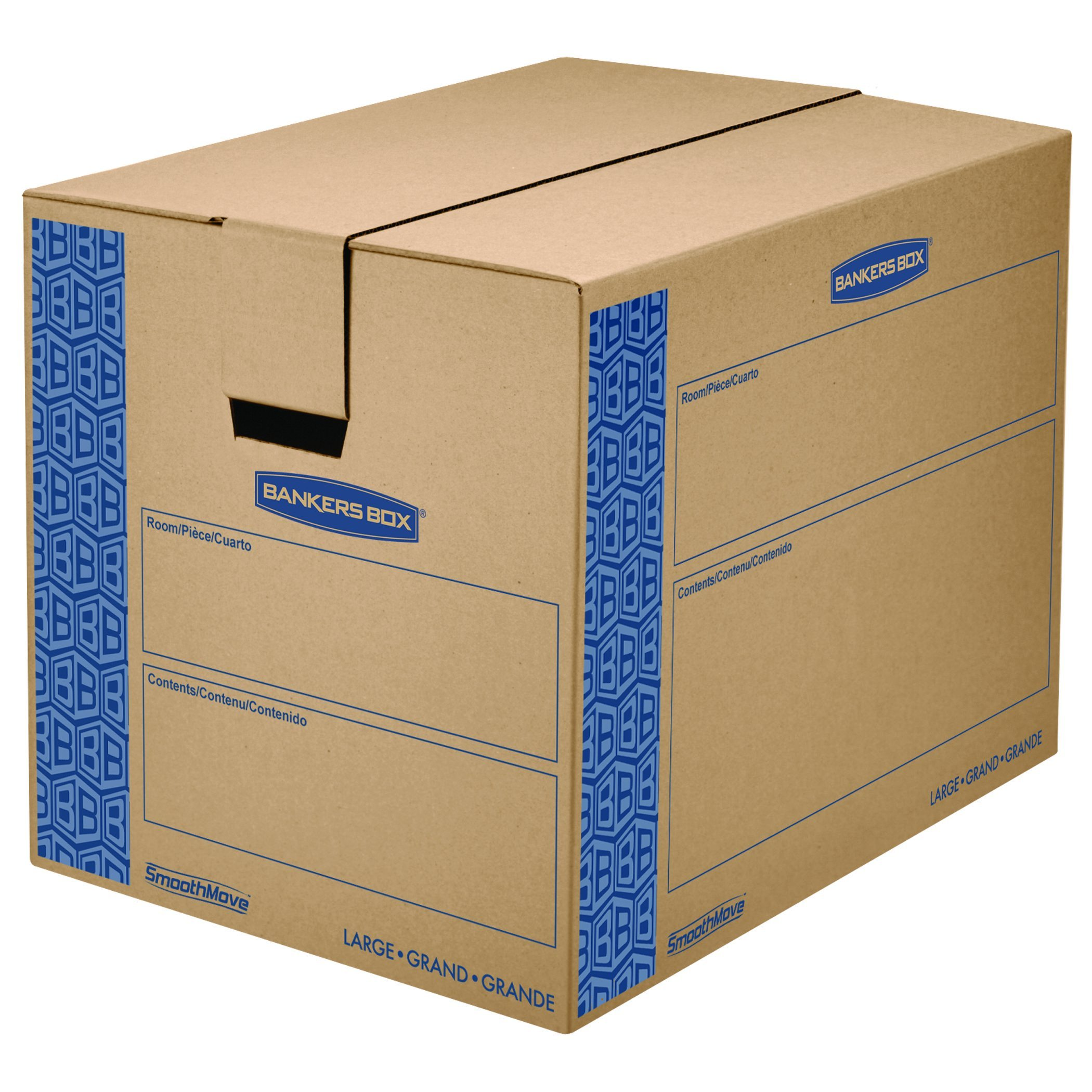 Bankers Box SmoothMove Prime Moving Boxes, Tape-Free, FastFold Easy Assembly, Handles, Reusable, Large, 24 x 18 x 18 Inches, 6 Pack (0062901)