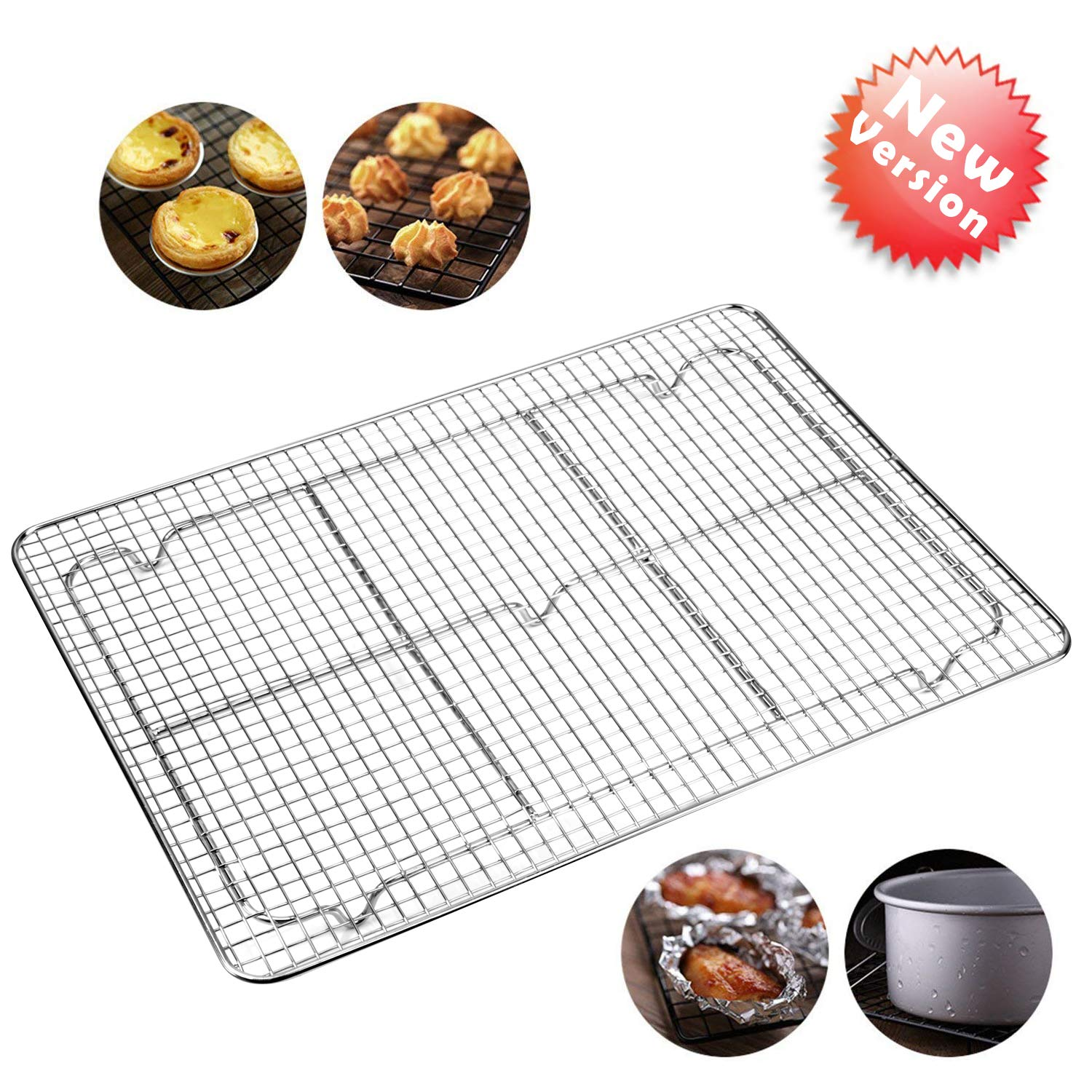 Cooling Racks For Baking,Bakeable Nonstick Cooling Rack,Stainless Steel Cooling Rack,Oven Safe for Cooking,Roasting,Grilling,12 x 17 Inches Fits Half Sheet Cookie Pan Grilling,12 x 17 Inches Fits Half Sheet Cookie Pan