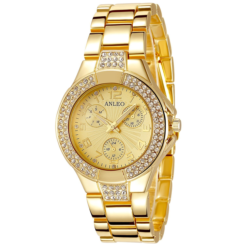 anleowatch 1pcs女性用腕時計ゴールドメタルスチールストラップダイヤルアナログクォーツ腕時計Lady腕時計Watches B011HJBSNU
