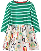 Fiream Girls Cotton Longsleeve Casual Dresses Striped Applique Cartoon