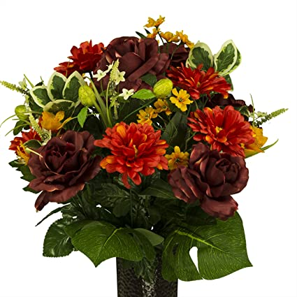 Amazon rubys silk flowers burgundy rose with orange dahlias rubys silk flowers burgundy rose with orange dahlias featuring the stay in the mightylinksfo