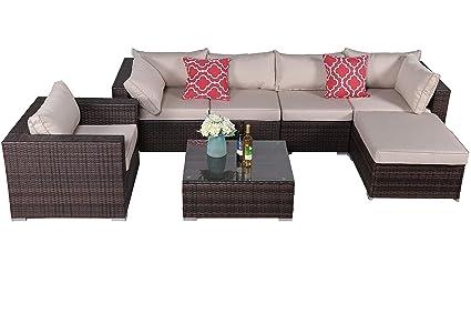 Amazon.com: Do4U 7 PCs Outdoor Patio PE Rattan Wicker Sofa Sectional ...