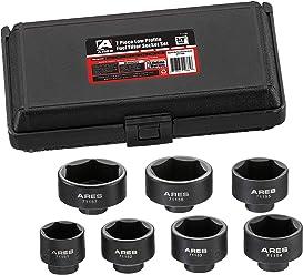 ARES 71150 | 7-Piece Low Profile Fuel Filter Socket Set | Low Profile Design