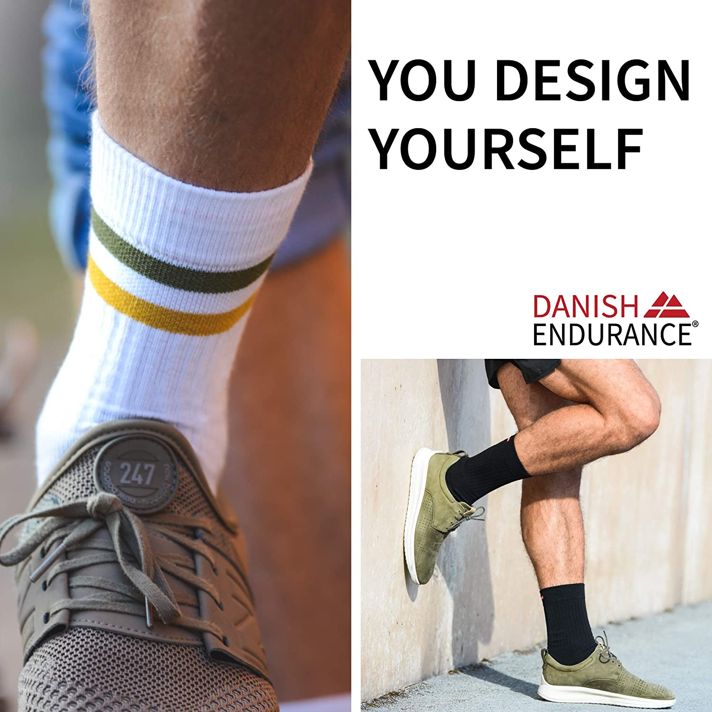 DANISH ENDURANCE Calcetines de Tenis Performance Crew Negro Blanco para Deporte Gris para Hombre y Mujer Estilo Retro Pack de 1 o 3 pares Acolchados Az/úl Transpirables