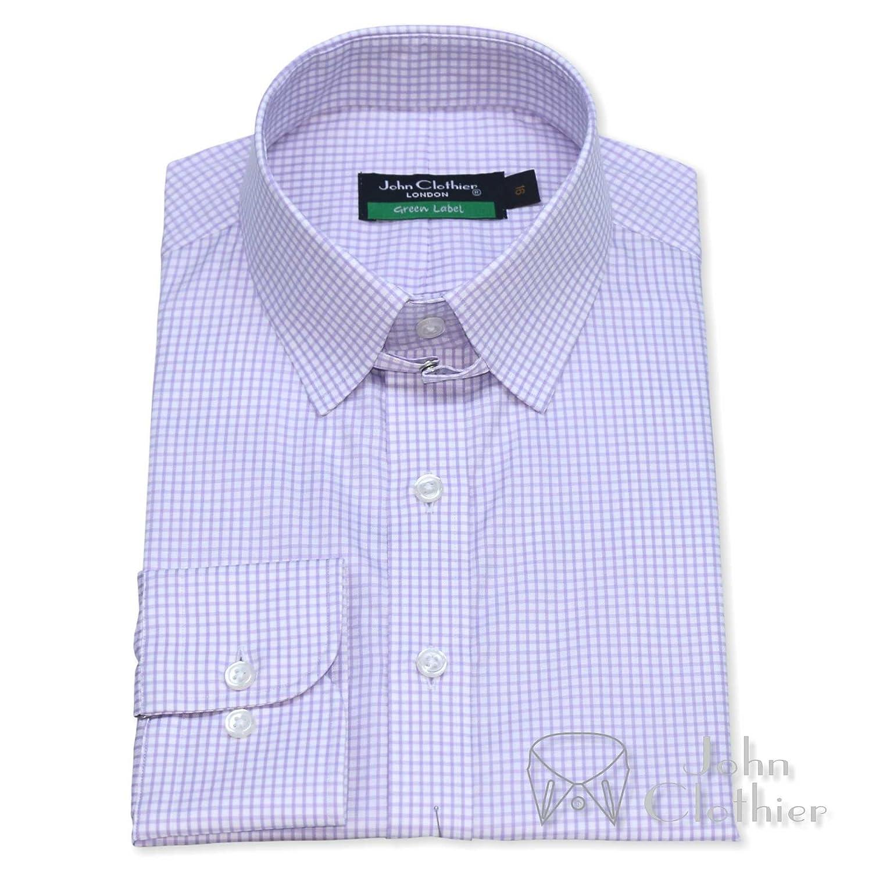 Whitepilotshirts Mens Tab Collar Lilac Checks Shirt 100 Cotton Loop