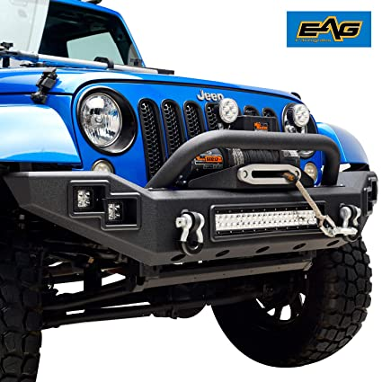 Jeep Wrangler Jk Front Bumper >> Amazon Com Eag Full Width Front Bumper With Led Lights Fit For 07
