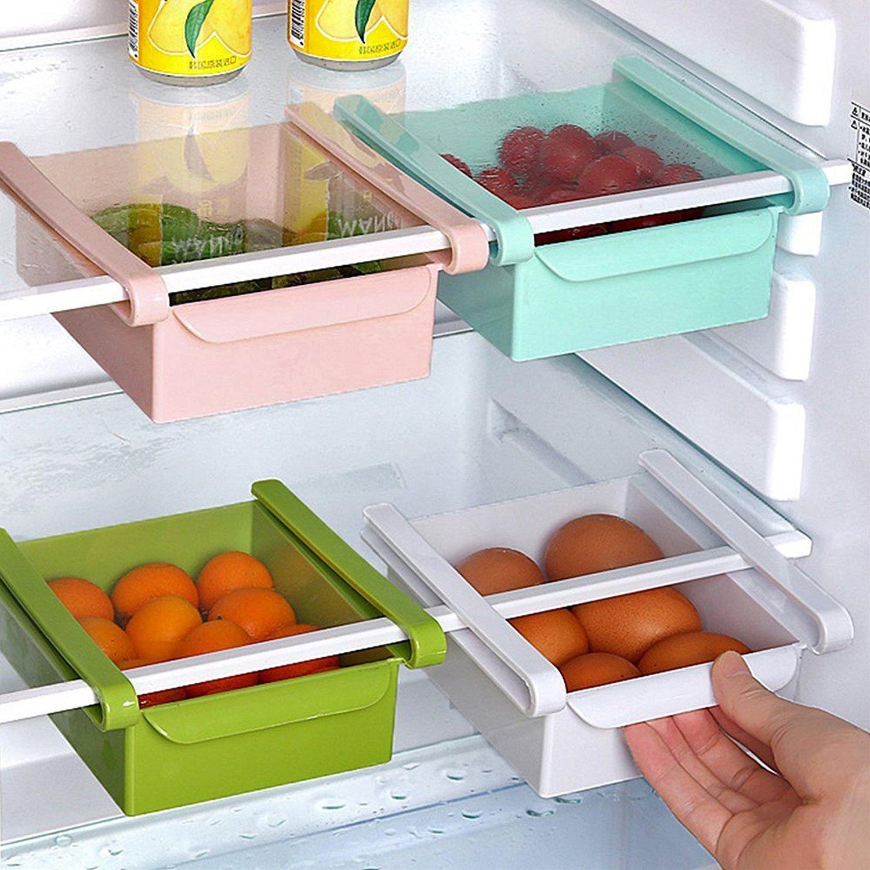 Fridge Organiser Pack of 2//4 Fridge Storage Box Drawers // Slide Shelf