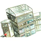 Hersoo Antique Spacious Mirror Glass 4-Shelf Drawers/Brass Metal Cosmetic Makeup Storage/Jewelry Top Dresser.