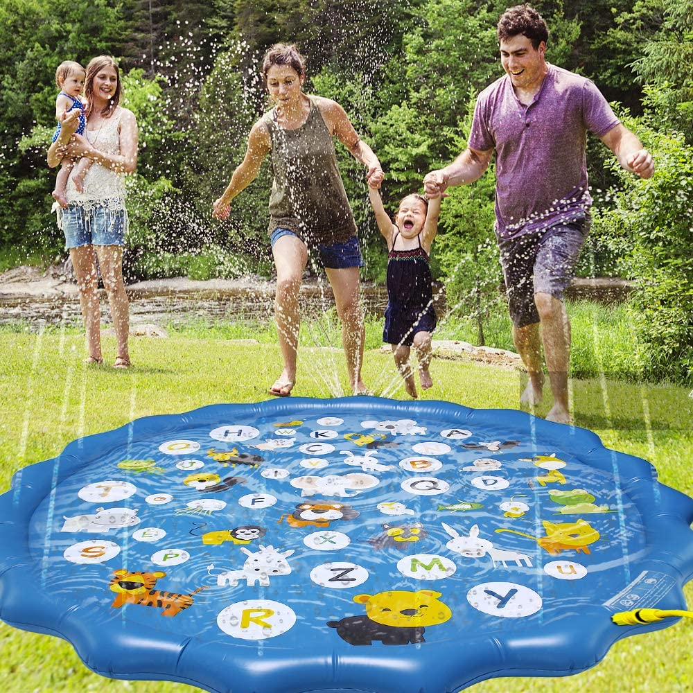 Arfbear Splash Pad for Toddlers Sprinkler for Kids Outdoor Water Party Sprinkler Play Mat Wading Baby Pool for Learning Inflatable Water Pad Toy