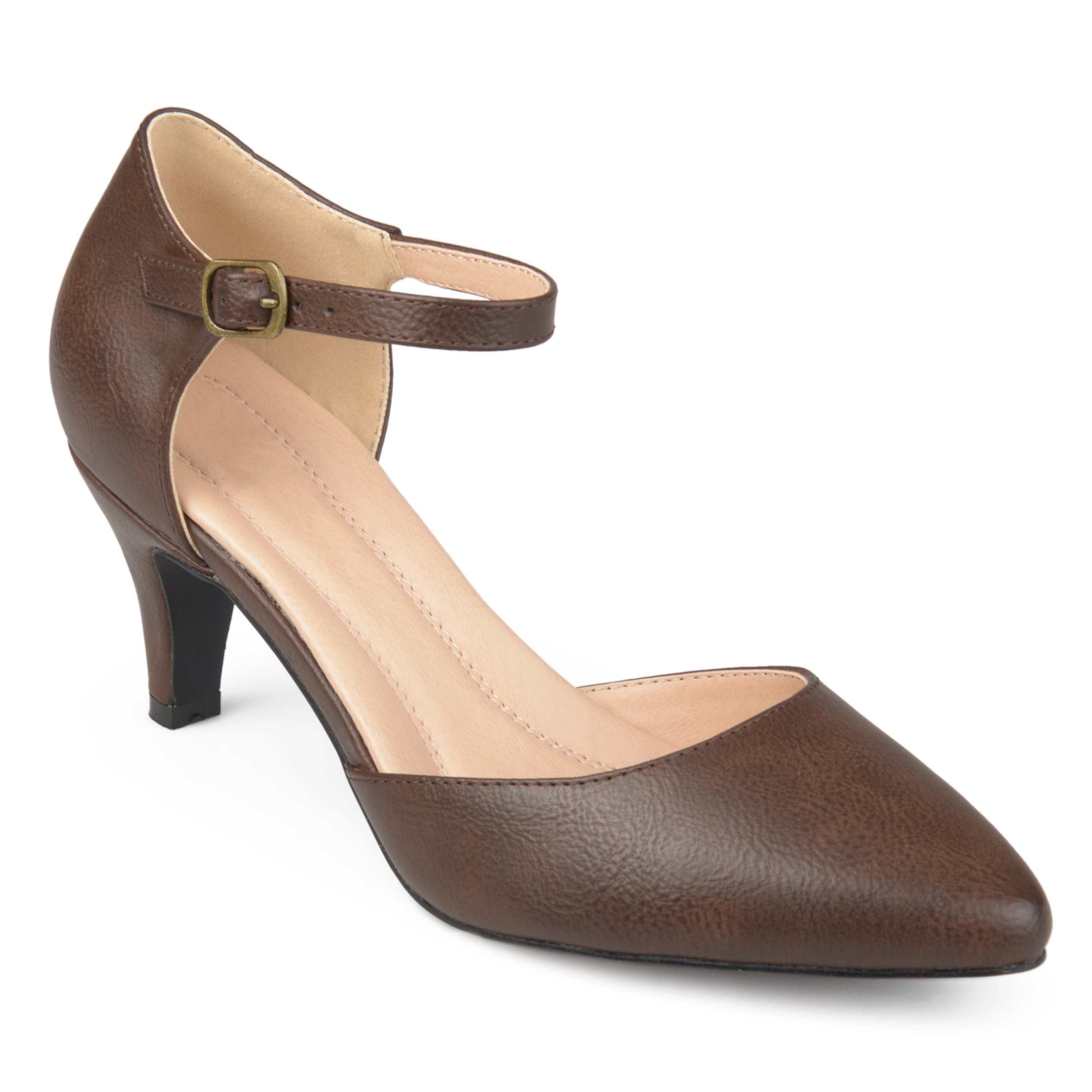 Journee Collection Womens Comfort Sole Almond Toe Ankle Strap D'Orsay Heels Brown, 6.5 Regular US
