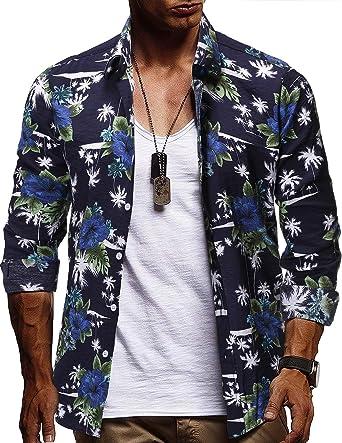 STTLZMC Hombre Camisa Hawaiana Manga Larga Funky Estampada Slim Fit Camisa Casual Playa Vacaciones: Amazon.es: Ropa y accesorios